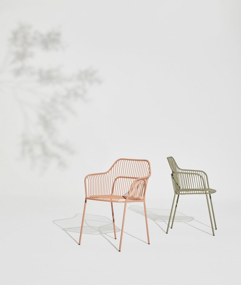 two outdoor armchairs