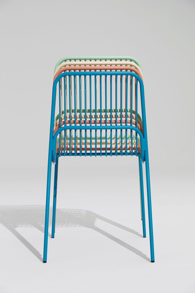 stacked outdoor chairs