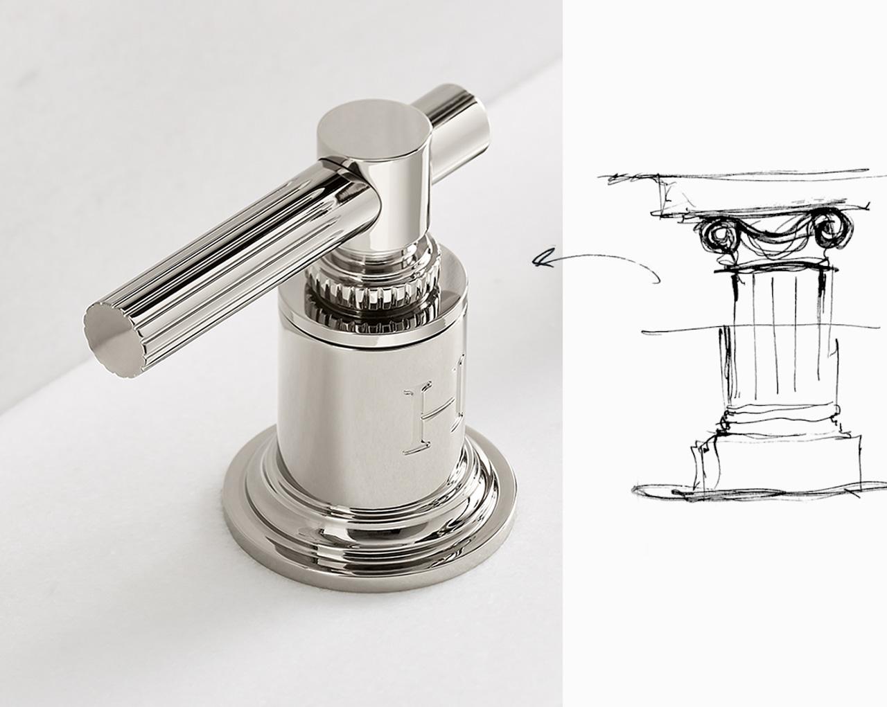 bathroom faucet handle and sketch