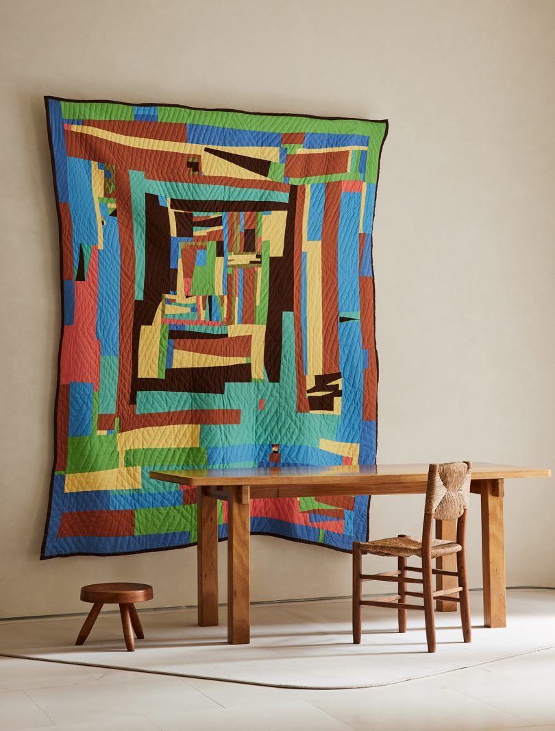 textile art, table, chair, stool