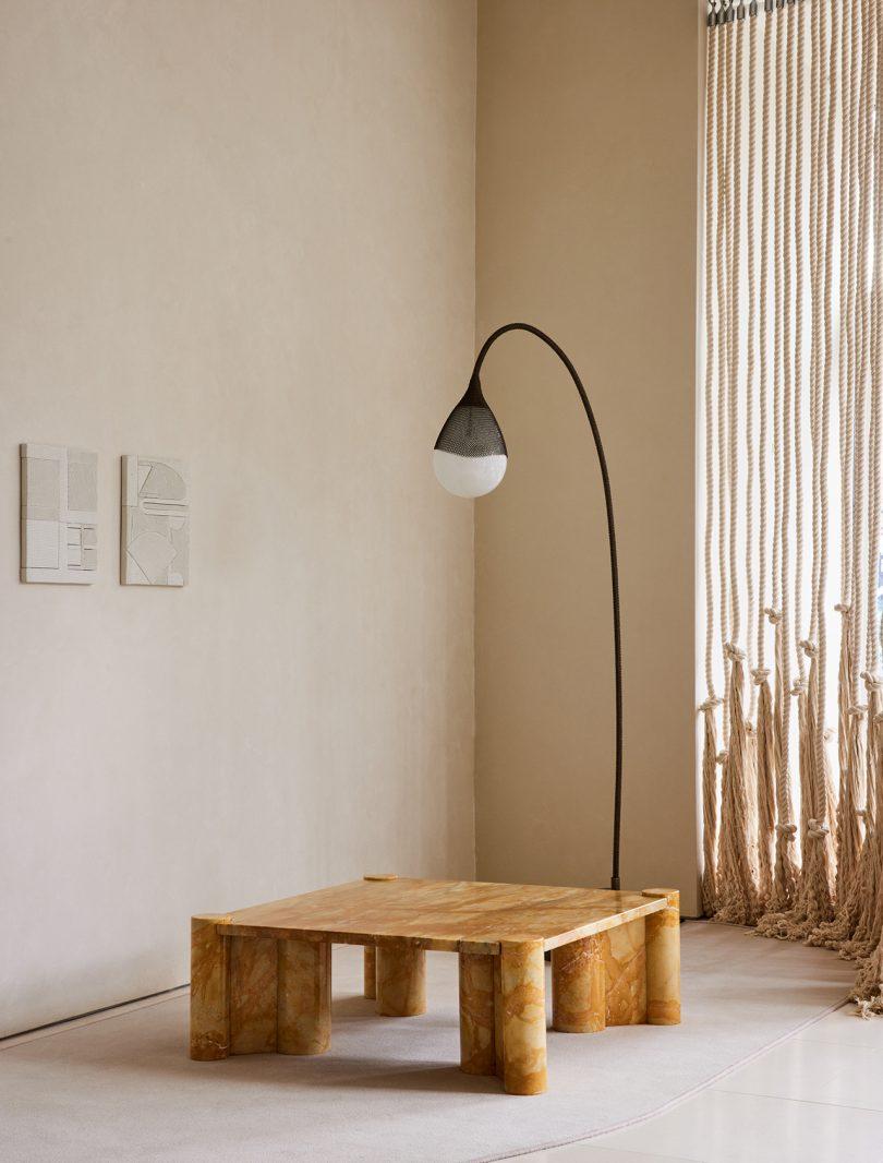 floor lamp, coffee table