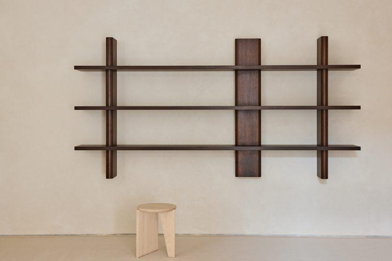 wall shelves and stool