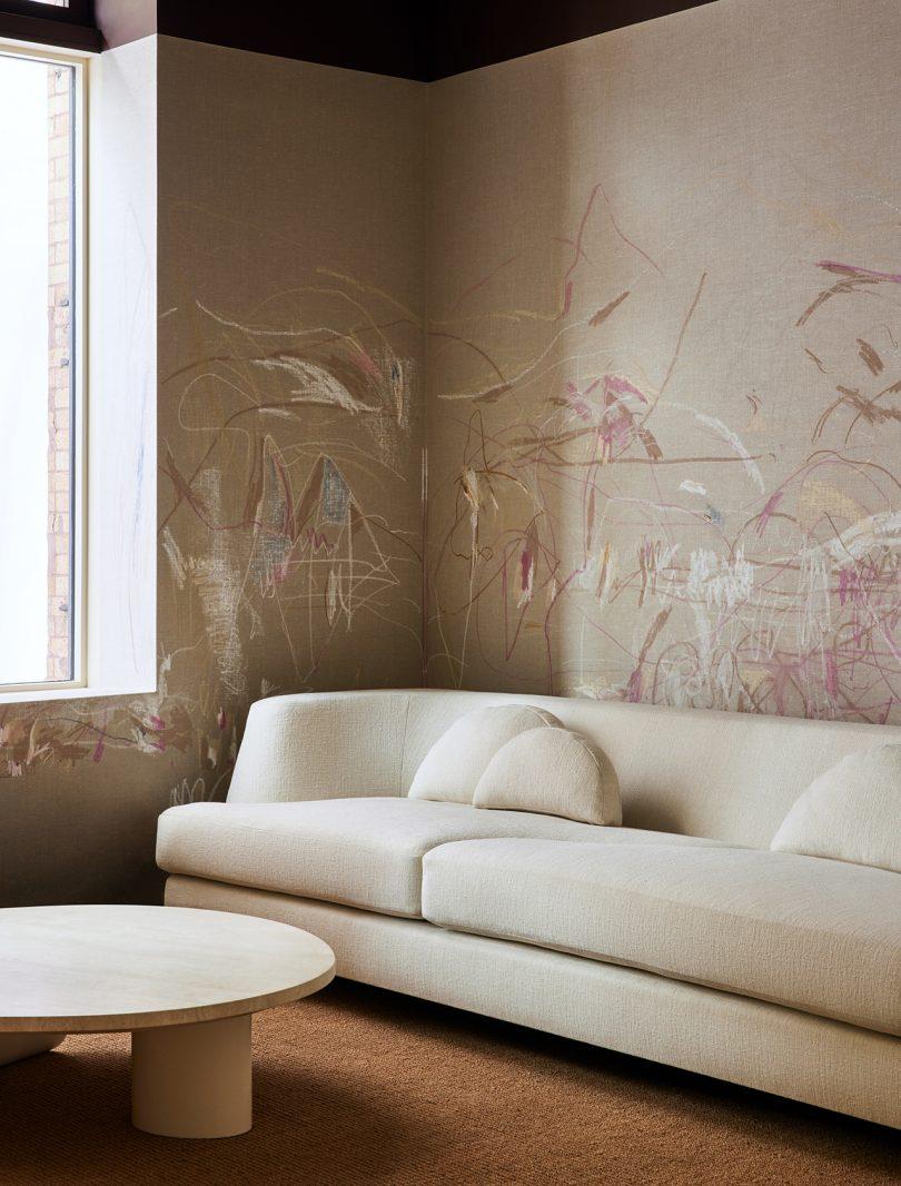 sofa, coffee table, wallpaper
