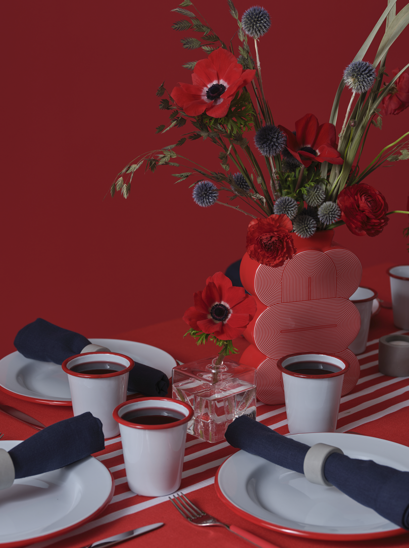 table set with food and decor