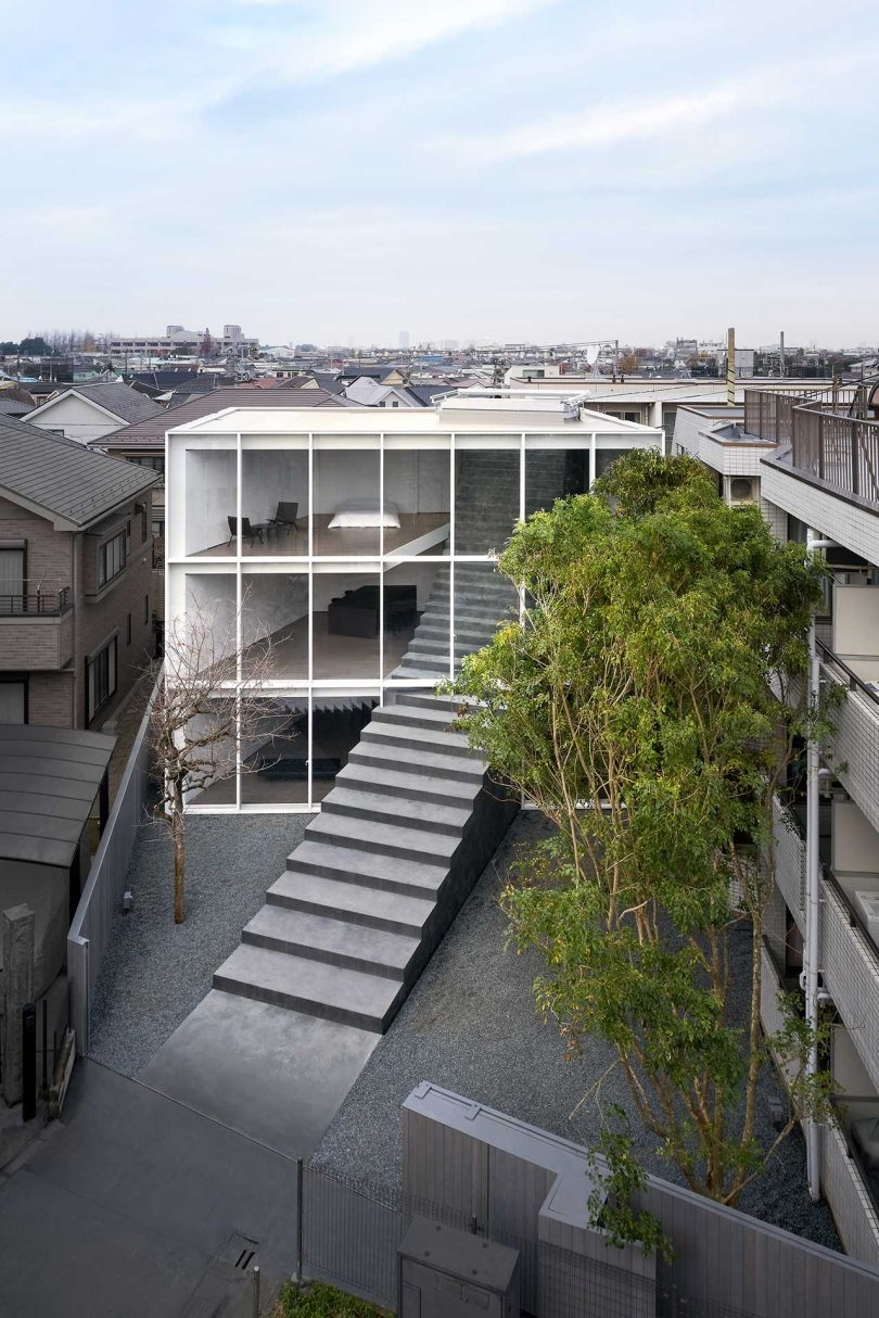 A Minimalist Tokyo Home With a Sculptural Stairway Connecting Three Floors