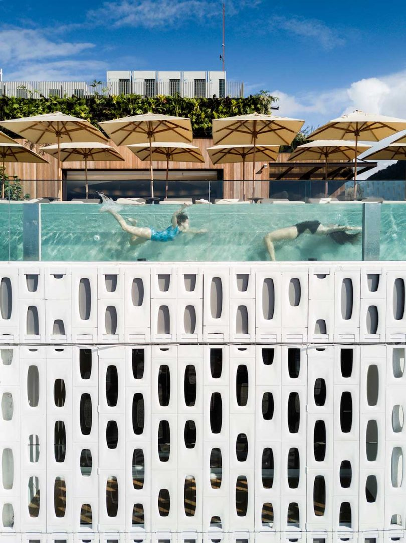 hotel glass pool