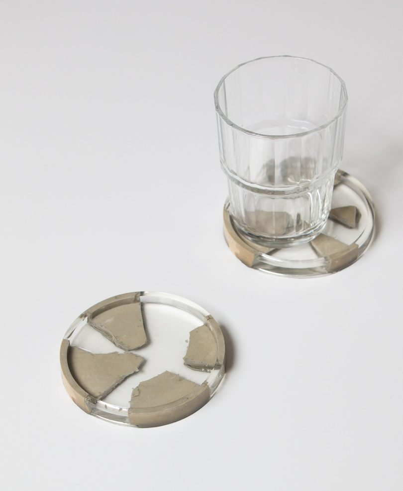 concrete and resin coaster with glass