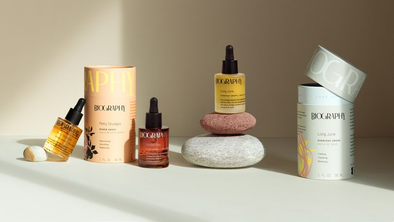 four bottles of face oil and packaging