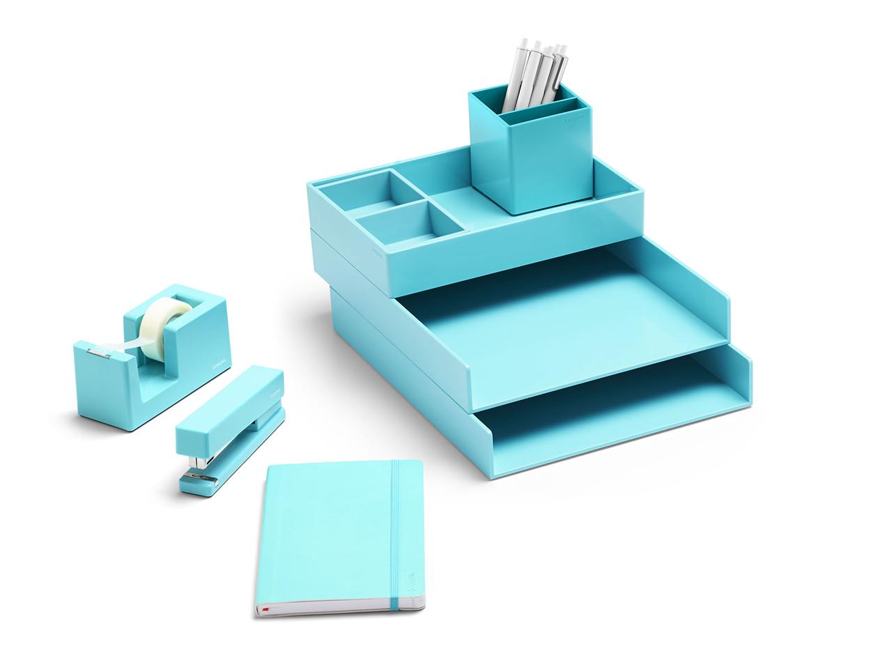 light blue office supplies