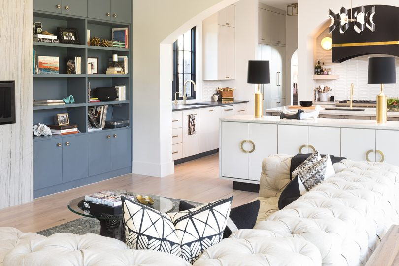 living space and kitchen