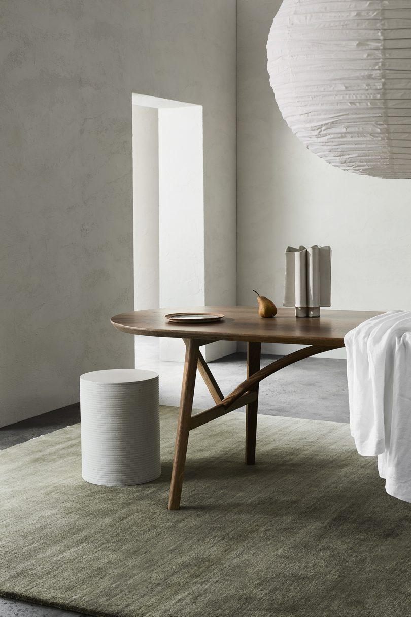 dining table and stool in living space