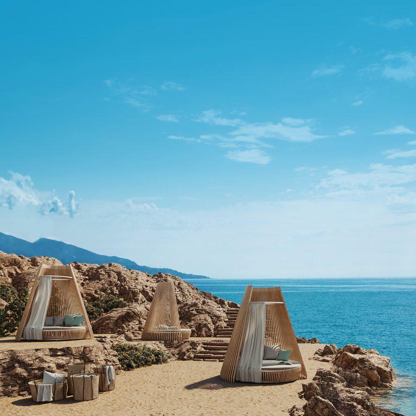 three huts on beach