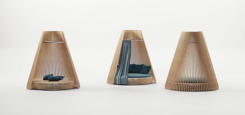 three huts