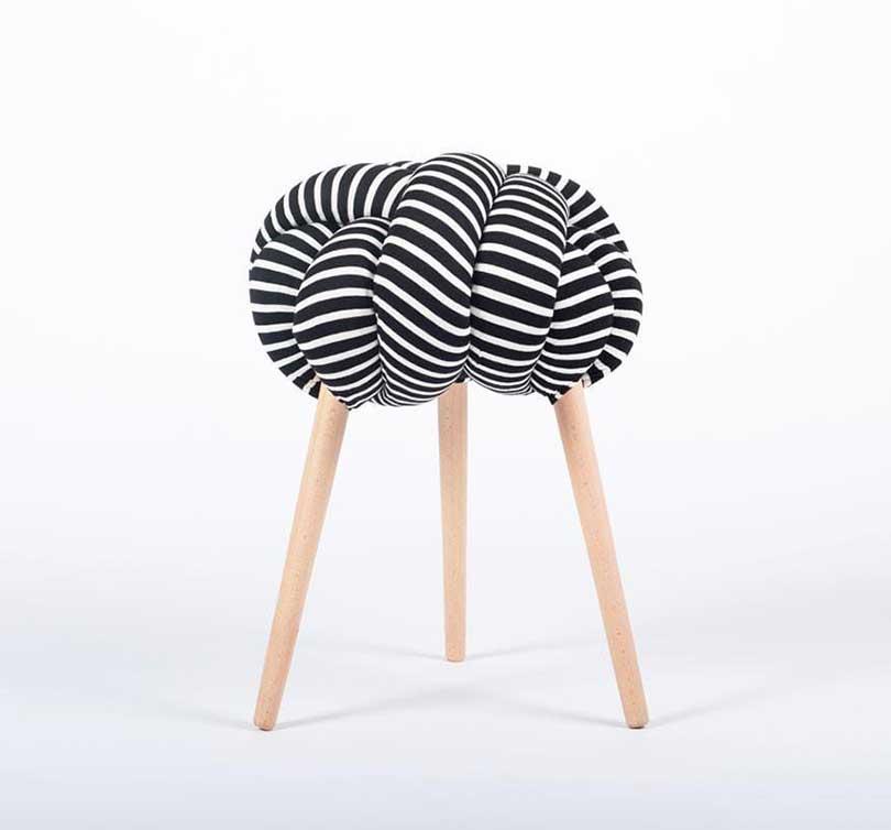 black and white stripe knot stool