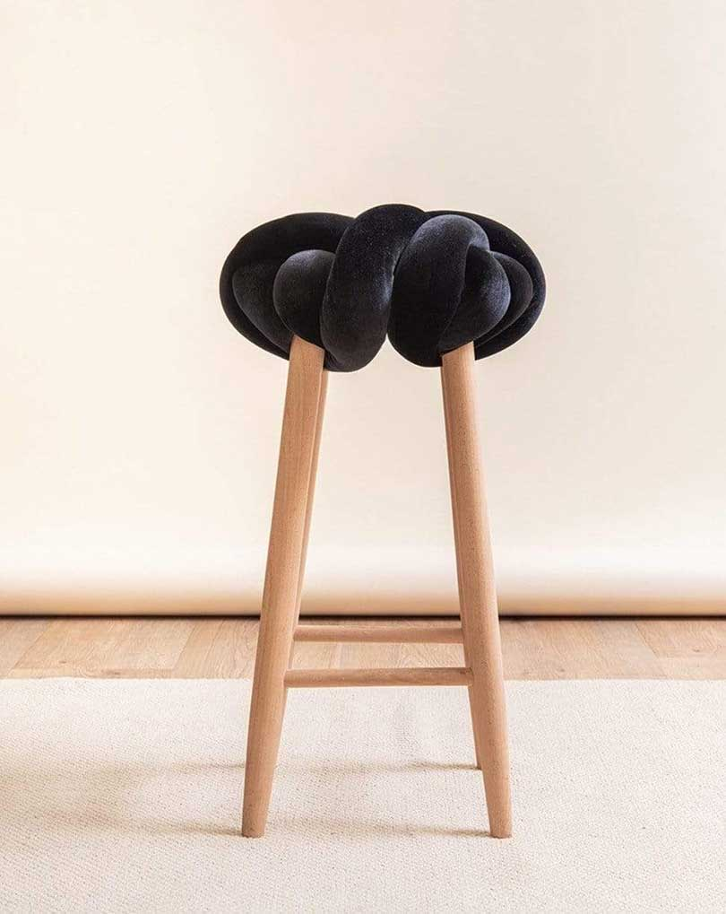 black velvet knot stool