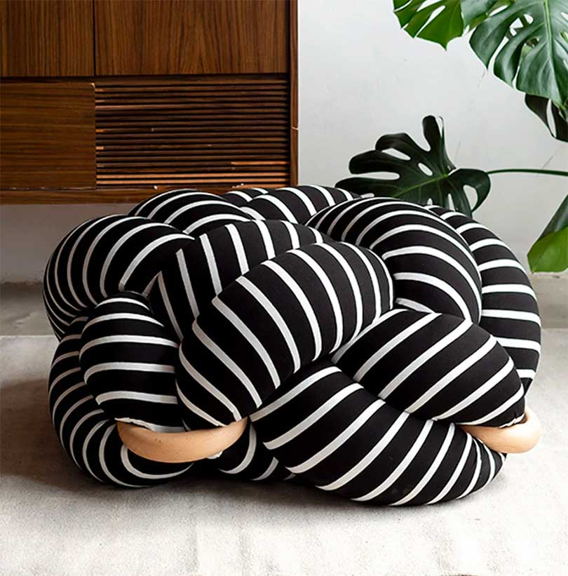 Knotted floor cushion