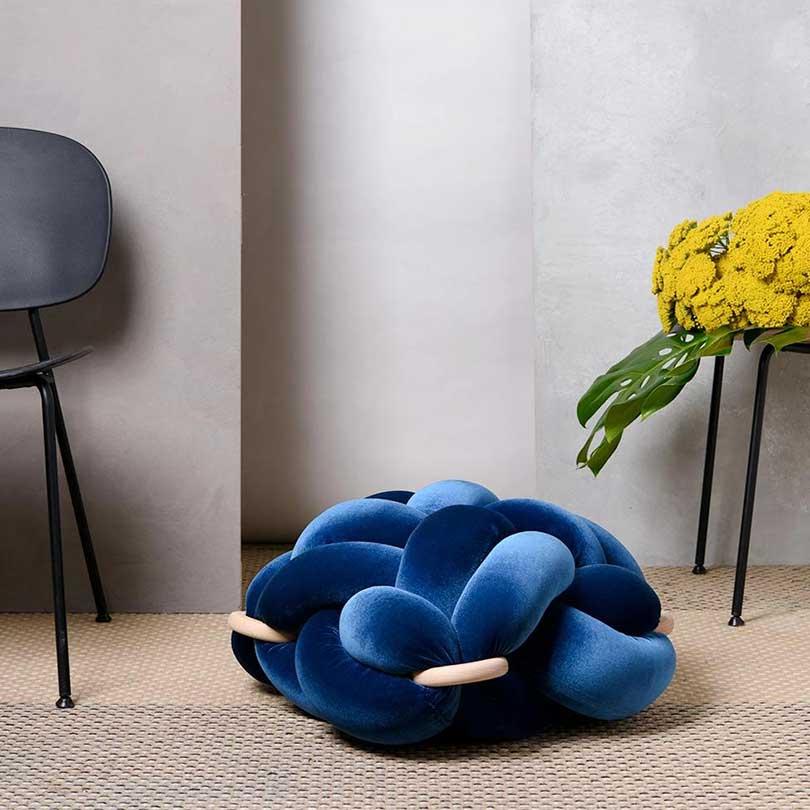 blue velvet knot floor cushion