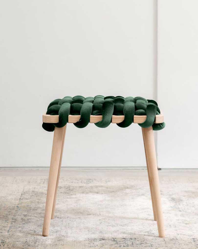 green velvet woven stool