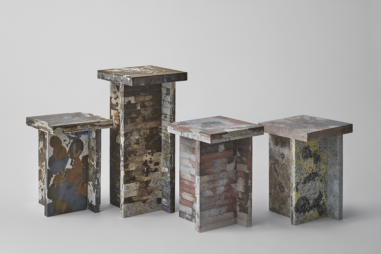 four recycled waste materials pedestals