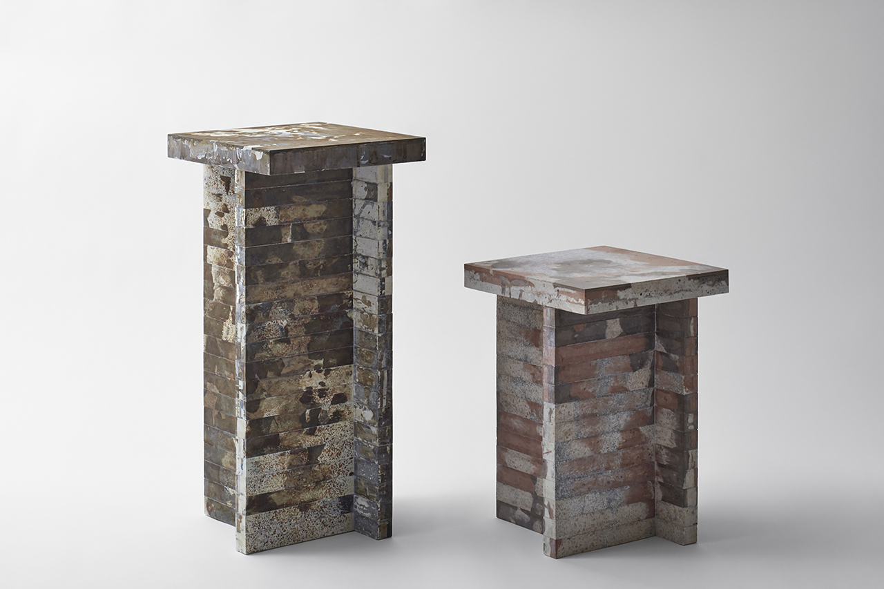 recycled waste materials pedestals