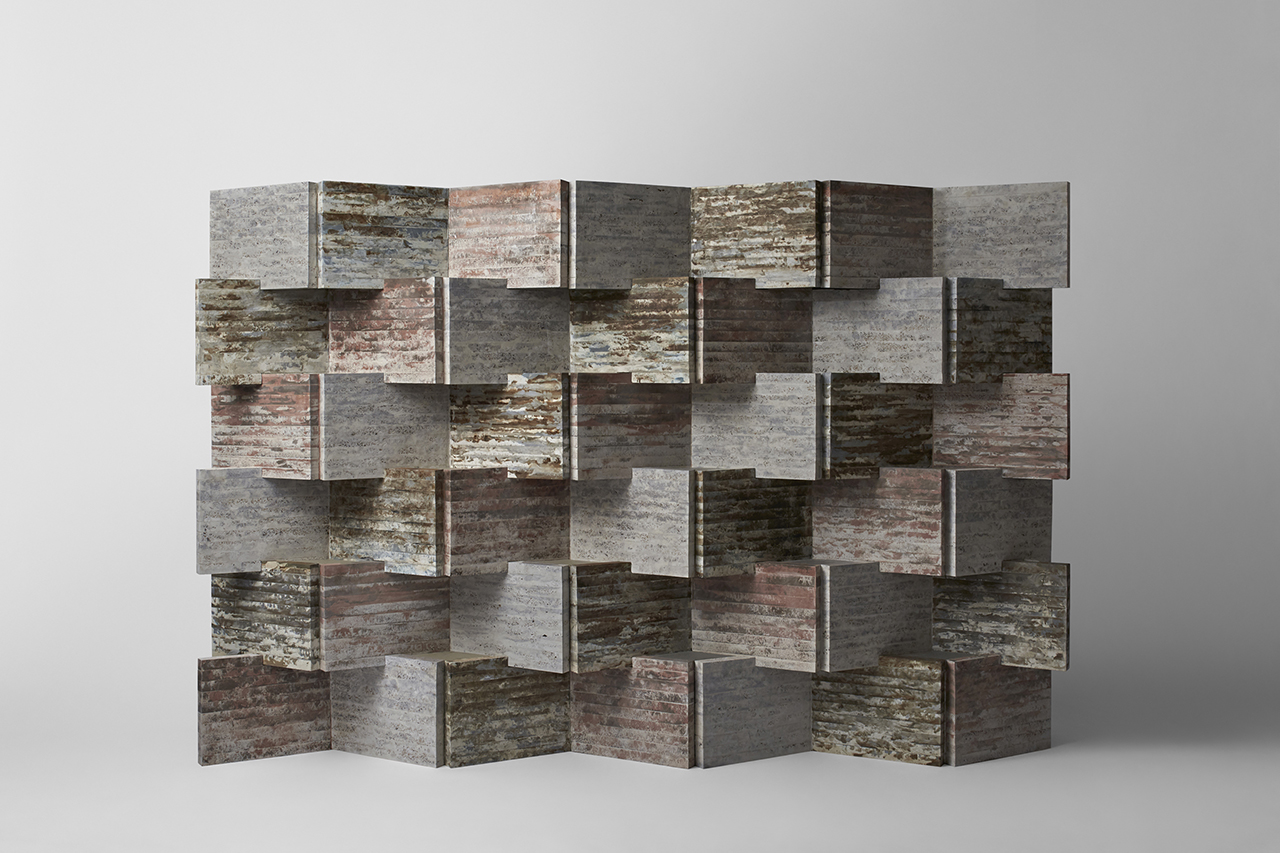 recycled waste materials wall