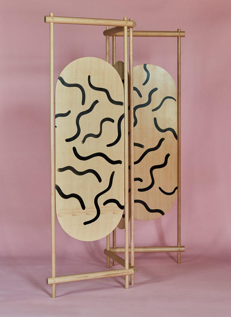 patterned wood folding screen