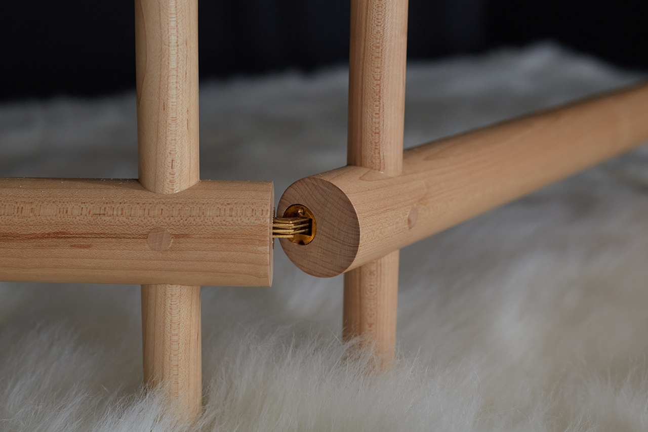 detail patterned wood folding screen