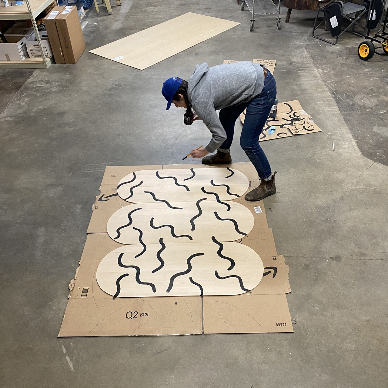 process creating patterned wood folding screen