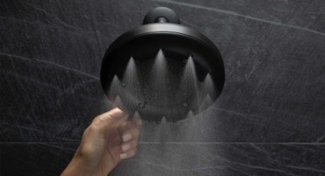 Showering Under the Nebia by Moen Quattro Saves up to 50% Water