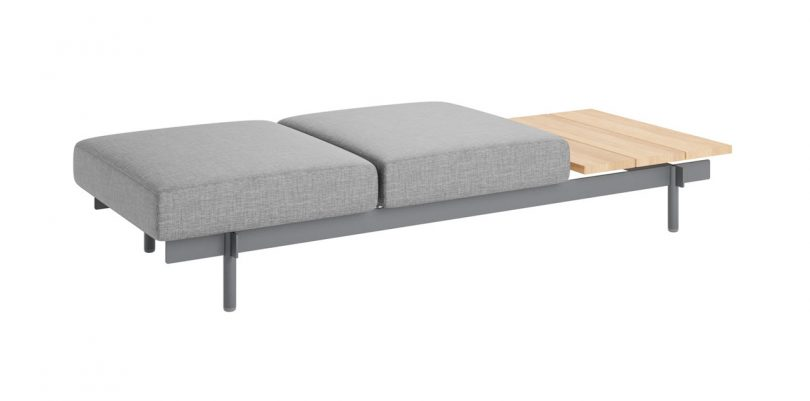 upholstered bench with table
