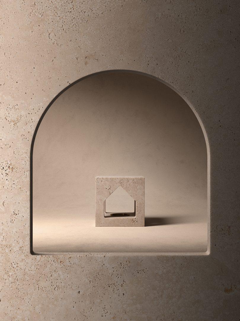stone sculpture seen through circle