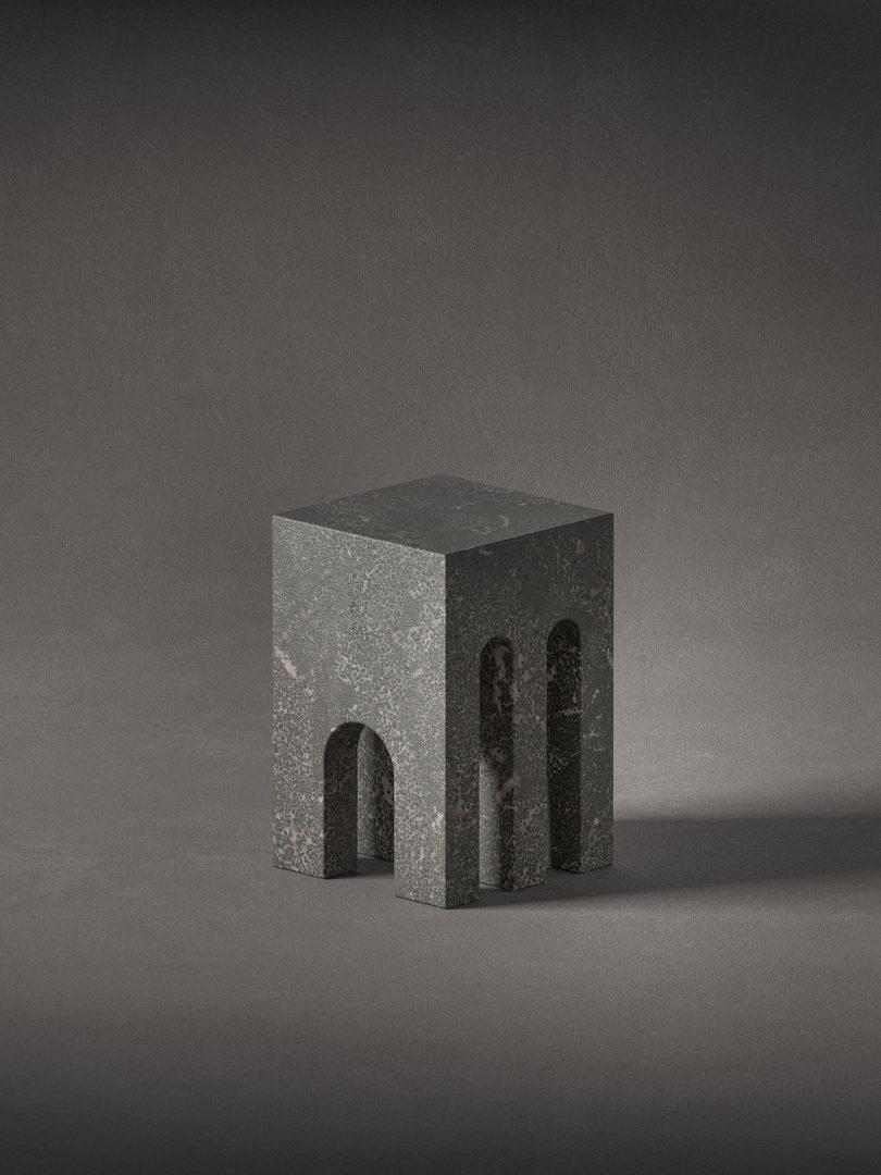 dark grey stone sculpture