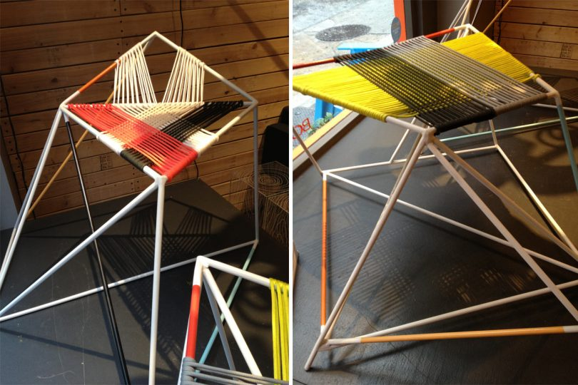 colorful woven stools