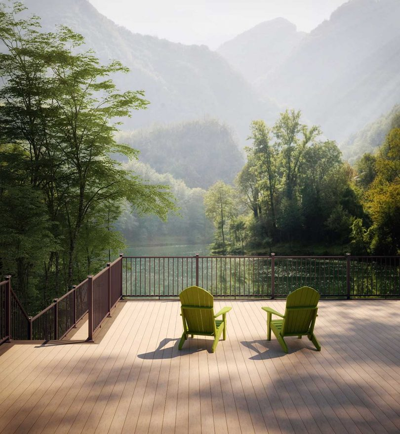 deck with chairs overlooking mountains