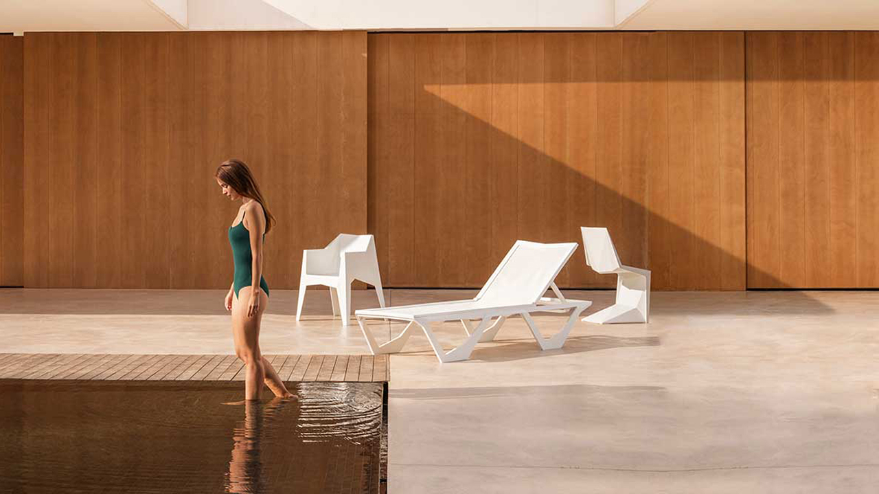 poolside furniture and woman