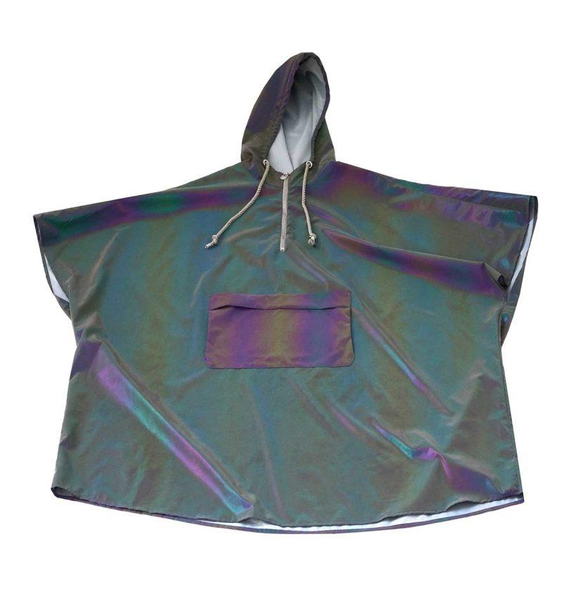 iridescent rain poncho