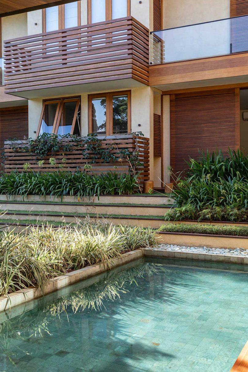 house with pool corner