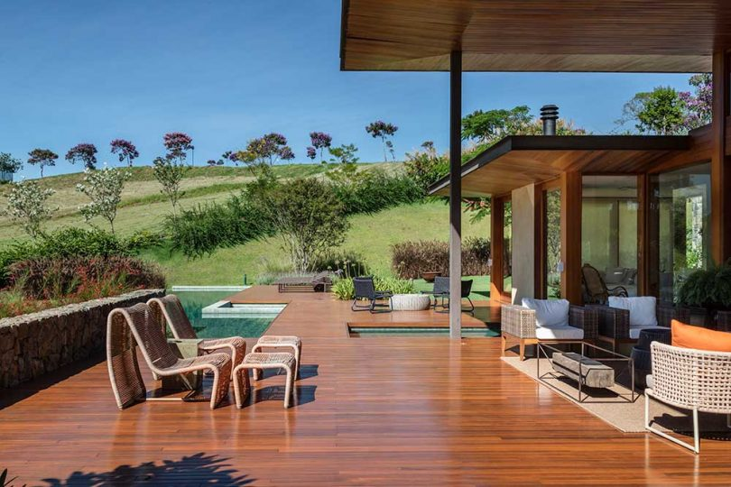 wood deck with pool