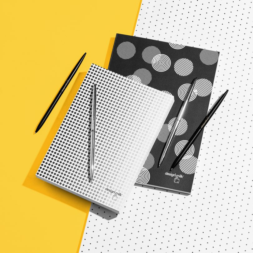 patterned Design Milk 15th anniversary stationery on yellow background