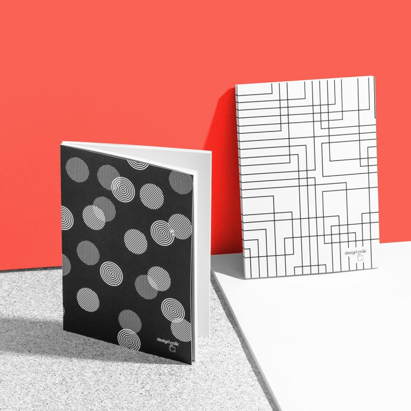 patterned Design Milk 15th anniversary stationery on coral and grey background