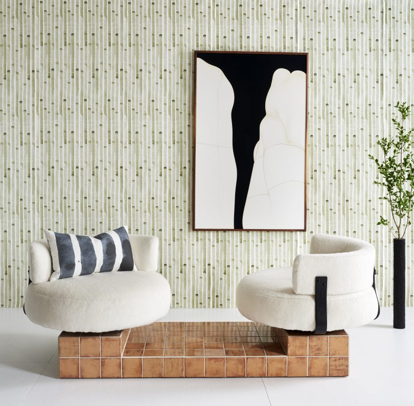 Green stripe wallpaper