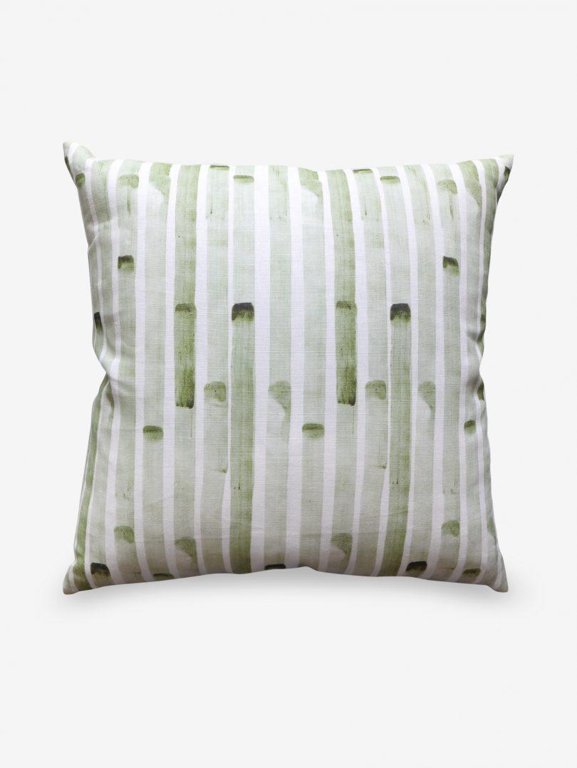 green stripe pillow