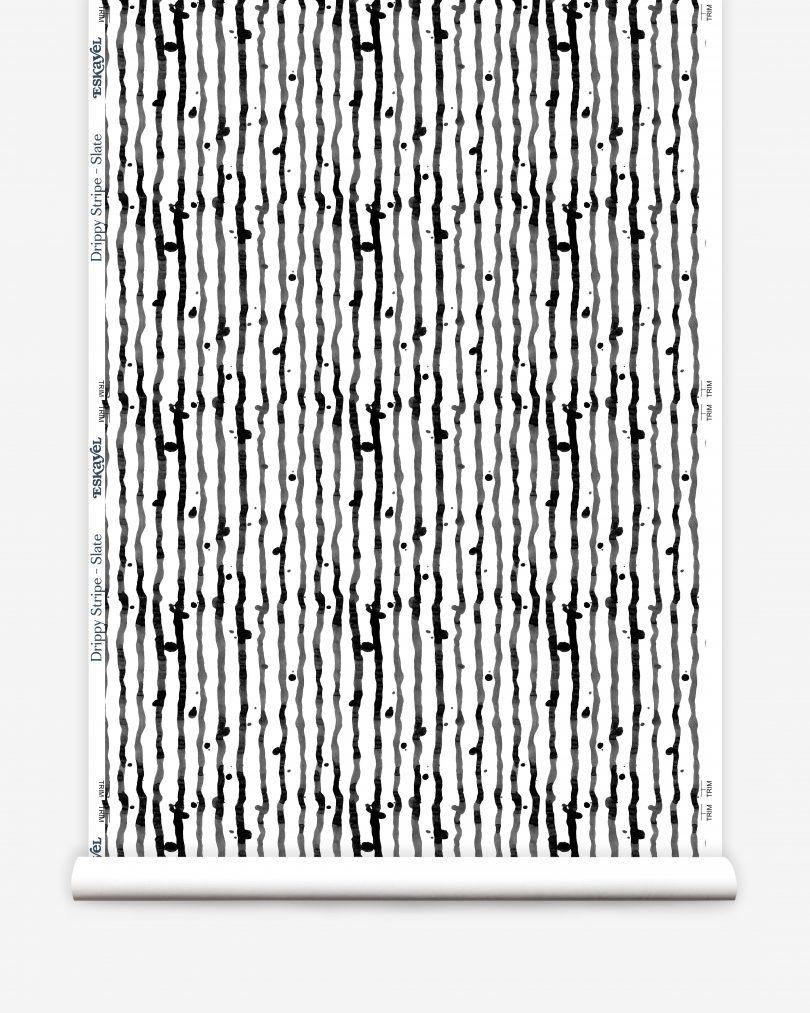 slate drippy stripe wallpaper roll