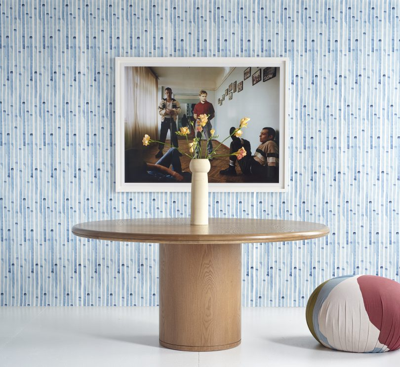 Blue stripe wallpaper