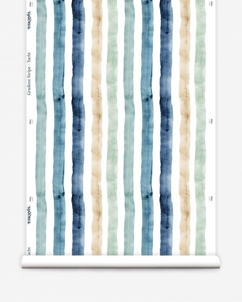 wide blue gradient stripe wallpaper roll