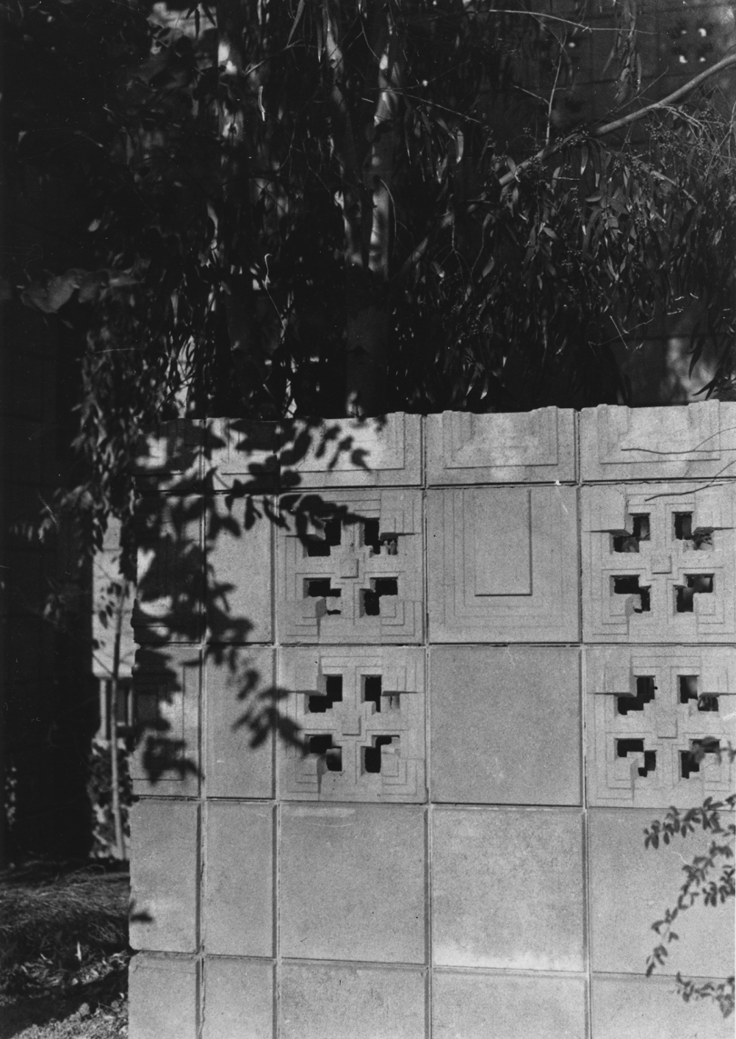 black and white photo of cement block wall
