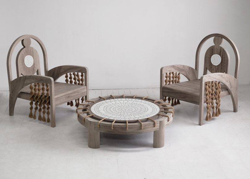 two chairs and coffee table