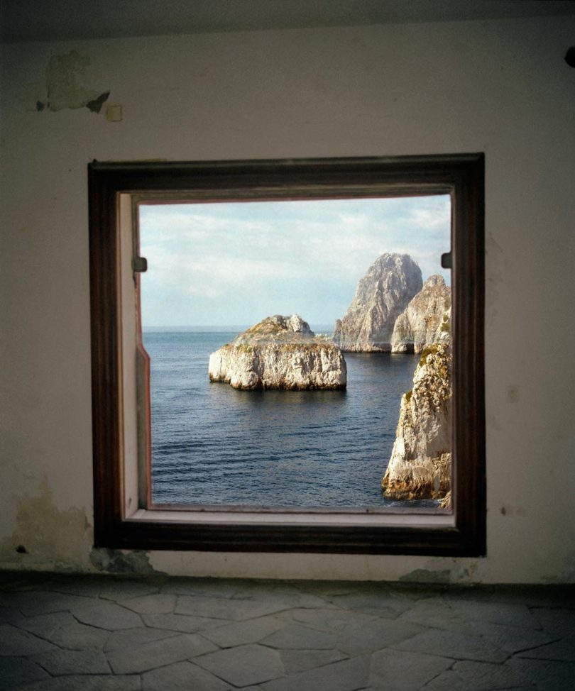 seascape viewed through window
