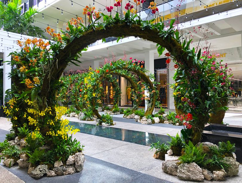 interior installation of arches of greenery and flowers