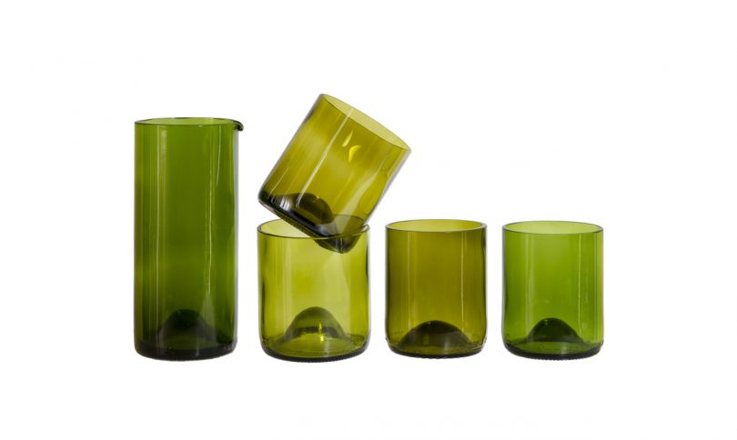 green set of 4 glasses and carafe